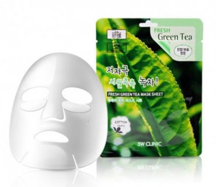 Тканевая маска для лица ЗЕЛЕНЫЙ ЧАЙ 3W CLINIC Fresh Green tea Mask Sheet: фото