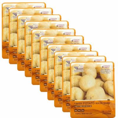 Набор Тканевых масок КАРТОФЕЛЬ 3W CLINIC Fresh Potato Mask Sheet 10 шт: фото