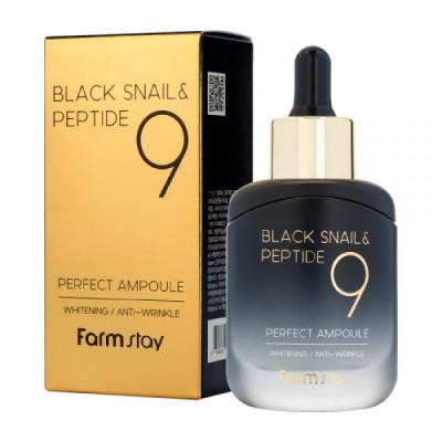 Сыворотка ампульная с комплексом из 9 пептидов FarmStay BLACK SNAIL & PEPTIDE9 PERFECT AMPOULE 35мл: фото