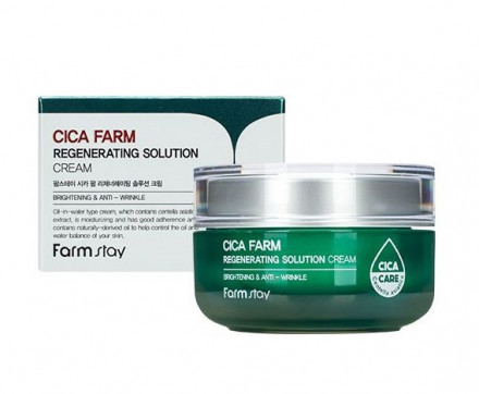 Восстанавливающий крем для лица с центеллой азиатской FarmStay Cica Farm Regenerating Solution Cream 50мл: фото